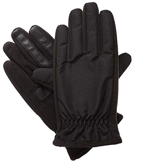 Isotoner Men's SmartTouch Active Gloves, Black, Medium