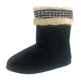 Isotoner Microsuede Woodlands Boot Slipper Indoor/Outdoor, Black, L(8-9)