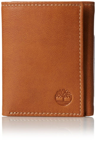 Timberland Premium Genuine Leather Cloudy Trifold Wallet, Tan