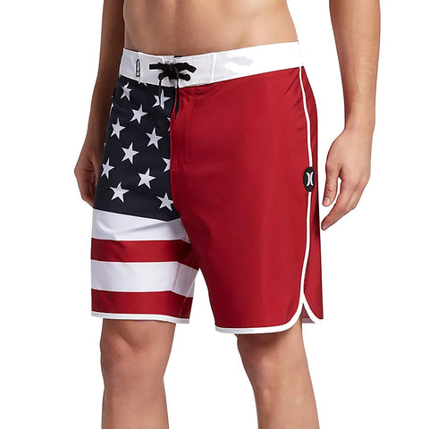 "Hurley Phantom Cheers 18"" Boardshorts, Gym Red, White and Blue, 33"