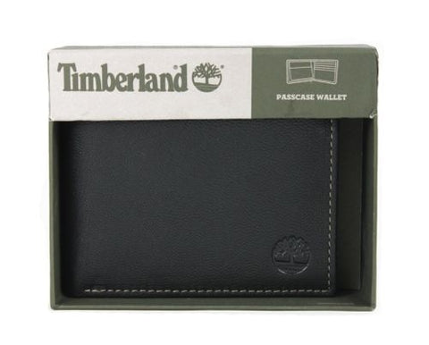 Timberland Milled Pebbled Leather Bifold Passcase Wallet Gift Box, Black