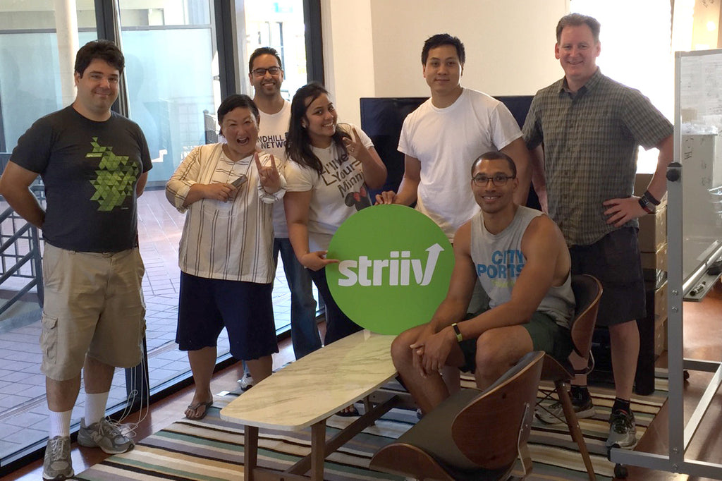 Dustin Martin, Tammi Goda, Kevin Sharma, Beleena Vera, Spencer Chi, Christopher Russell, and Doug Lawrence in the newly created Striiv lobby.