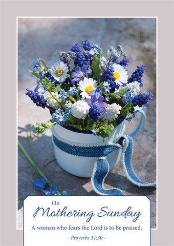 On Mothering Sunday - Postcard Blue (Pack of 24)