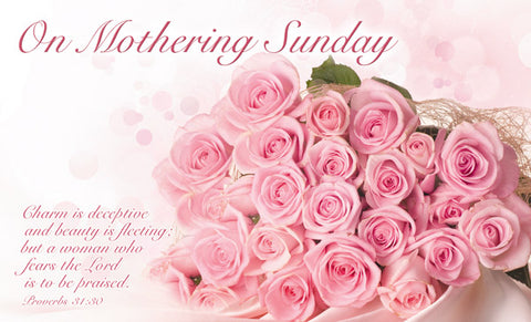 On Mothering Sunday - Postcard Roses (Pack of 24)