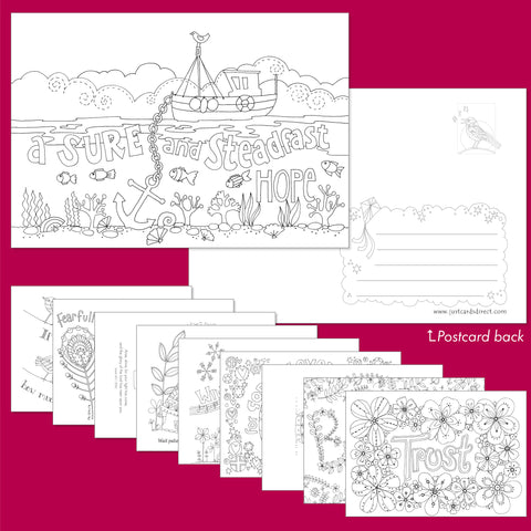 10 Images of Hope Colouring postcards