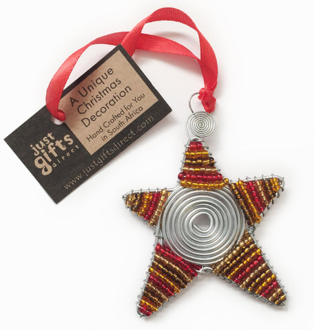 Beaded star hanging Christmas decoration