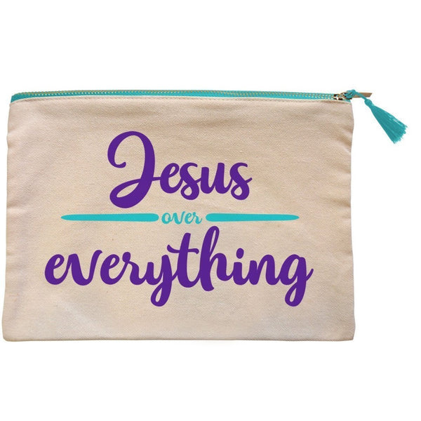 Jesus Over Everything Canvas Zipper Bag
