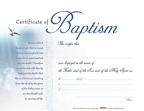 Baptism White Clouds Certificate (Pack of 6)