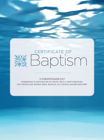 Baptism Water And Clouds Folded Certificate (Pack of 6)