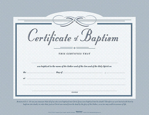 Baptism Flat Certificate (Pack of 6)