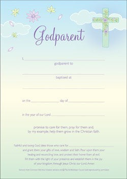 Godparent Certificate - Flowers (Pack of 10)