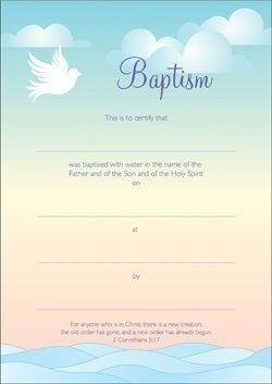 Baptism Certificate - Dove (Pack of 10)