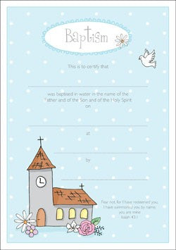 Baptism Certificate - Church (Pack of 10)