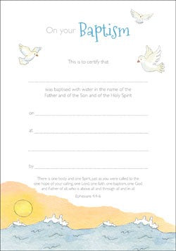 Baptism Certificate - Waves (Pack of 10)