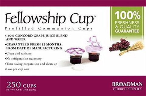 Fellowship Cup Box of 250 - Pre-filled Communion Wafer & Juice Cup