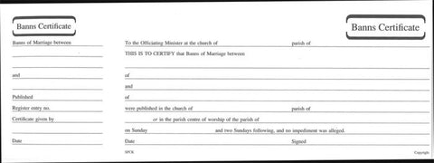 Banns of Marriage Certificate Book