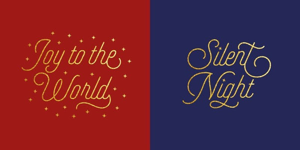 Gold Text Christmas Cards (Pack of 10)