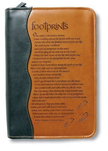 Italian Duo-Tone Footprints Bible Cover, Medium