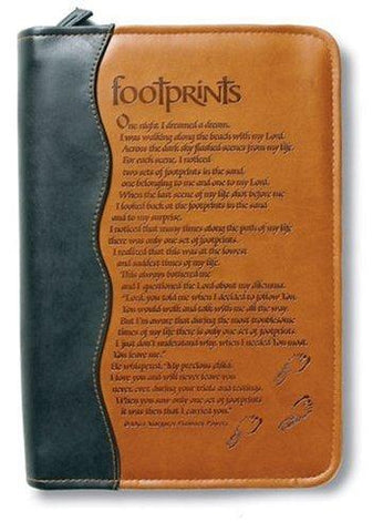 Italian Duo-Tone Footprints Bible Cover, XLarge