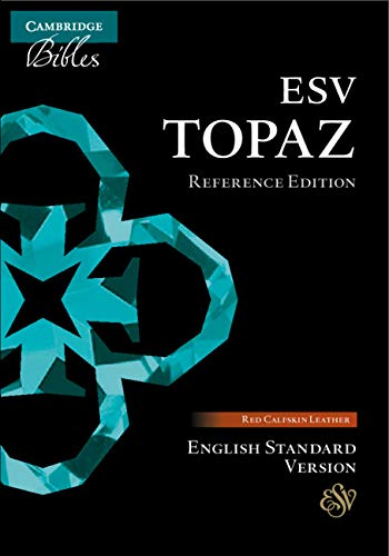 ESV Topaz Reference Bible, Cherry Red Calfskin Leather
