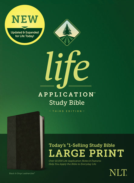 NLT Life Application Study Bible, Third Edition, Large Print (Red Letter, Imitation Leather, Black/Onyx)