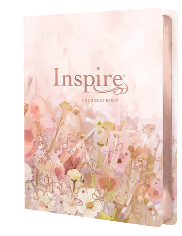 Inspire Catholic Bible NLT Large Print (LeatherLike, Pink Fields with Rose Gold)