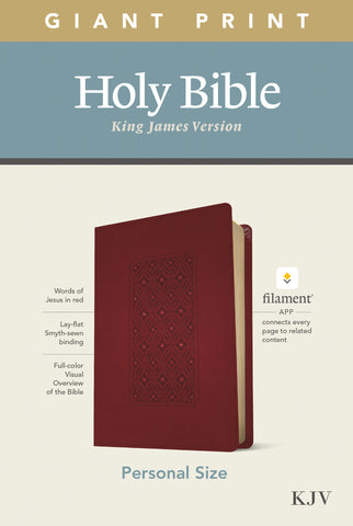 KJV Personal Size Giant Print Bible, Filament Ed., Cranberry Imitation Leather, Large Print