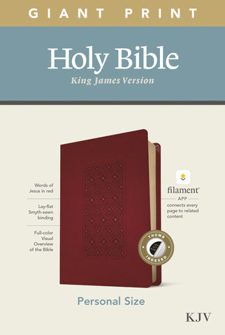 KJV Personal Size Giant Print Bible, Filament Ed., Cranberry Imitation Leather - Large Print