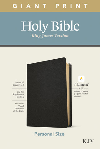 KJV Personal Size Giant Print Bible, Filament Edition, Black Leather Bound – Large Print