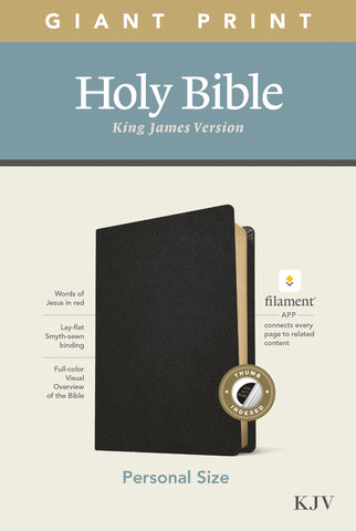 KJV Personal Size Giant Print Bible, Filament Edition, Black, Genuine Leather