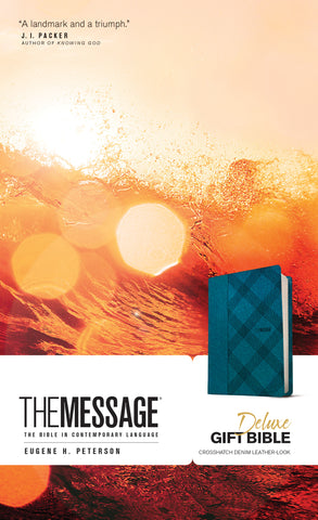 The Message Deluxe Gift Bible, Denim Leather-Look