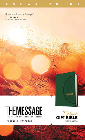 Message Deluxe Gift Bible, Large Print (Leather-Look, Green)