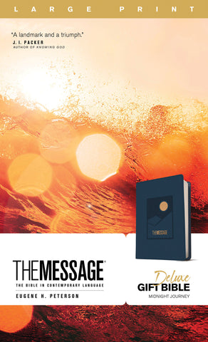 The Message Deluxe Gift Bible, Large Print (Leather-Look, Navy)