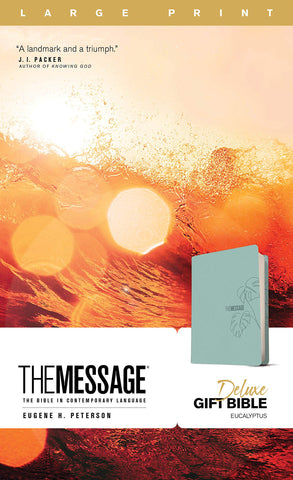 The Message Deluxe Gift Bible, Large Print (Leather-Look, Teal)
