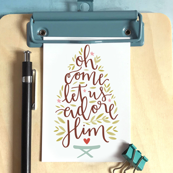 Oh Come Let Us Adore Him - Christmas Mini Card