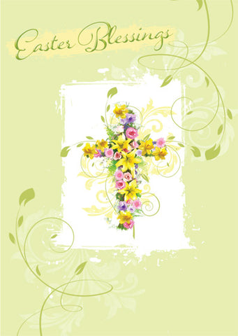Easter Cards: Easter Blessings/Cross/Floral (5 Pack)