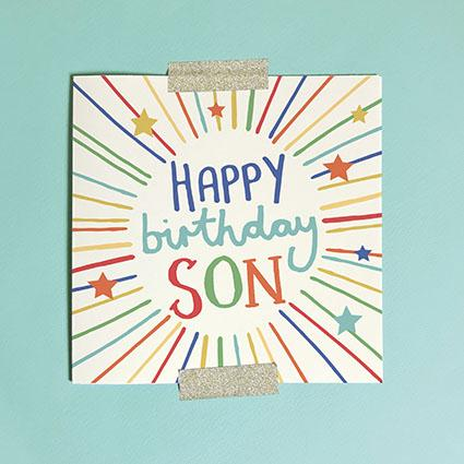 Happy Birthday Son Greeting Card & Envelope