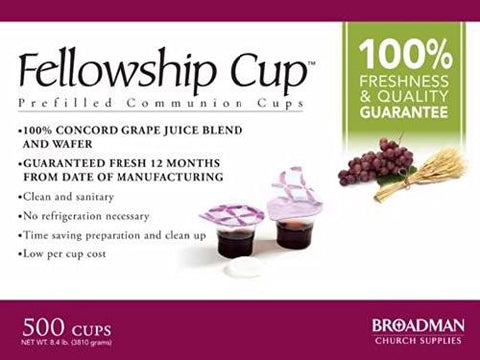 Fellowship Cup Box of 500 - Pre-filled Communion Wafer & Juice Cup
