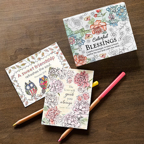 Boxed Colouring Cards: Colourful Blessings