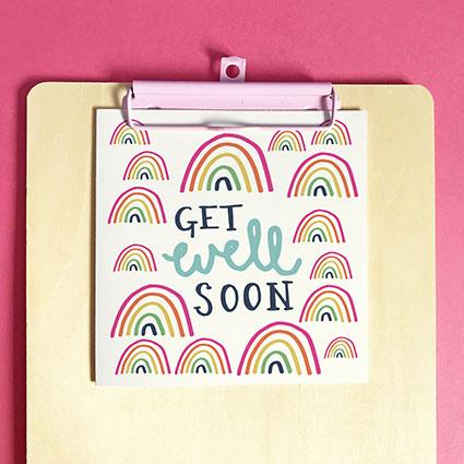 Get Well Soon Greeting Card & Envelope