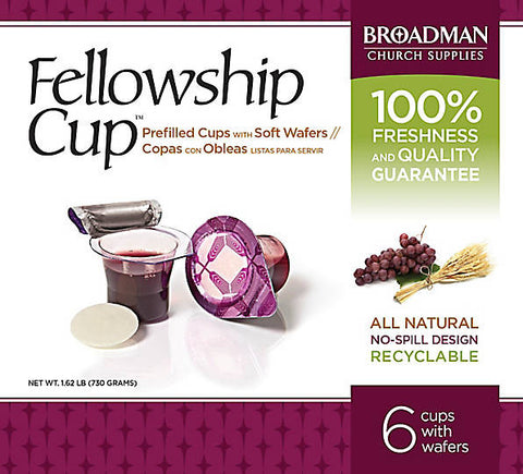 Fellowship Cup Box of 6 - Pre-filled Communion Wafer & Juice Cup