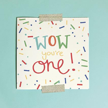 Wow You're One Greeting Card & Envelope - Red