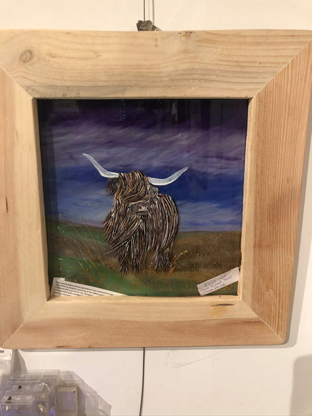 Highland cattle glass picture