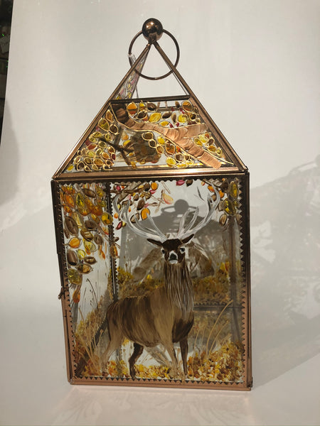 Hand painted,  copper lantern , British wildlife