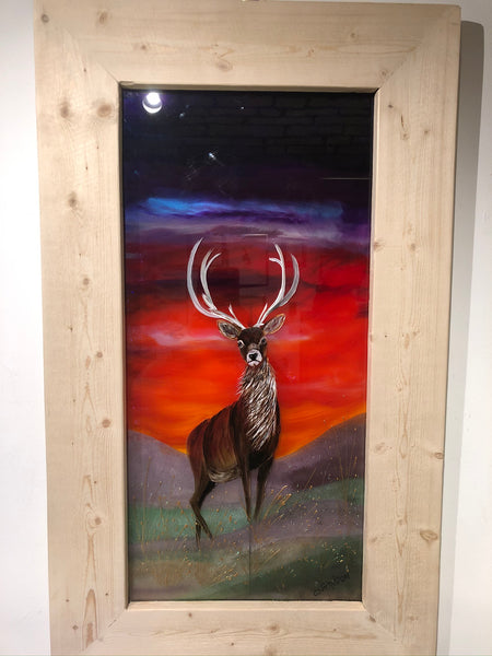 Hand painted glass picture stag