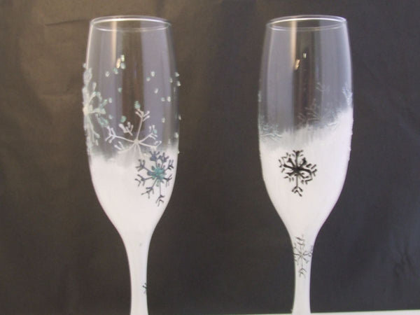 christmas glasses white sparkle