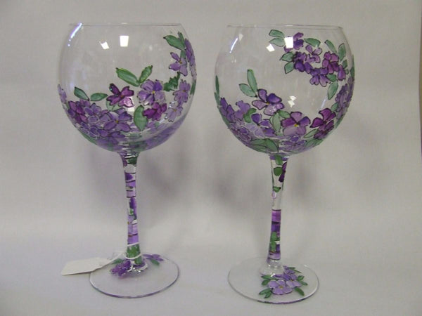 26oz periwinkle flower glass