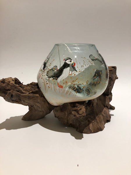Copy of hand painted puffins  globe on wood