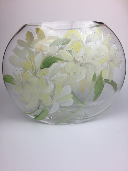 Copy of oval vase -large- silver lilies