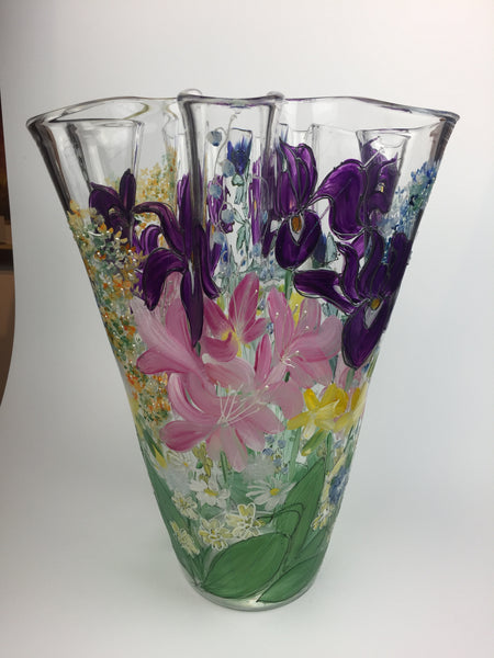 fluted vase - large - mixed flowers